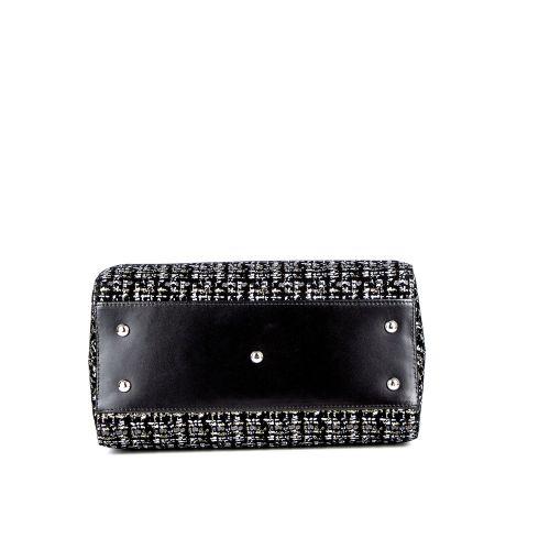 Классическая женская кожаная сумка ASSA, черно-белого цвета 1165-2