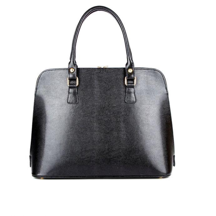 Деловая женская кожаная сумка ASSA, черного цвета 953