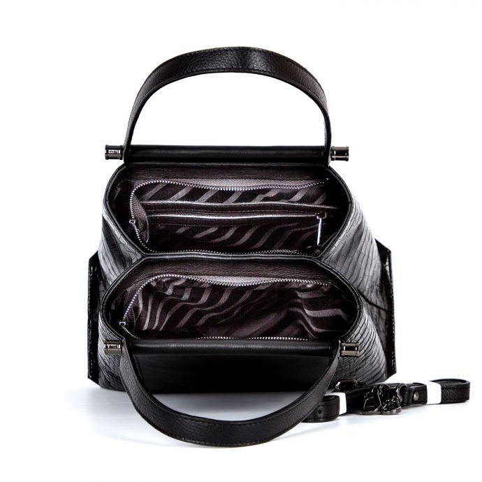 сумка женская/принц черный/крокодил 1266-1