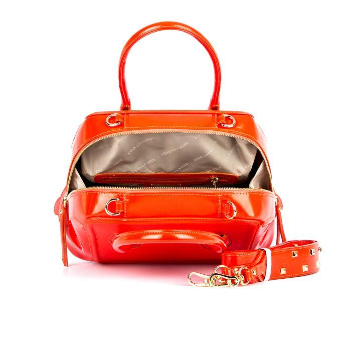 сумка женская/ сафьян красный/ полированная красная кожа 1245-1