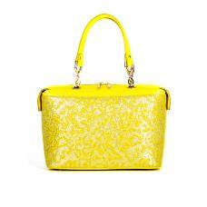 """сумка женская/флотар желтый/ламинированная кожа """"цветочный принт"""""""