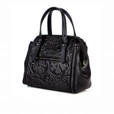 Классическая женская кожаная сумка ASSA, с тисненным принтом черного цвета
