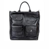 Женский городской кожаный рюкзак - сумка ASSA, черного цвета