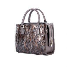 Женская кожаная сумка ASSA, с коричневым змеиным принтом