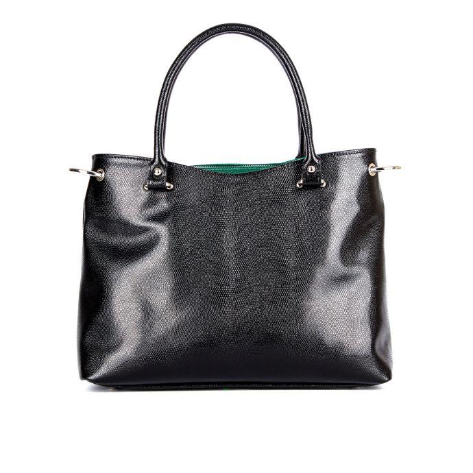 Повседневная женская кожаная сумка ASSA, черного цвета 1023