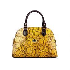 сумка женская/под рептилию, комбинация с гладкой коричневой кожей