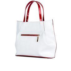сумка женская/белая лак палия/лак красный
