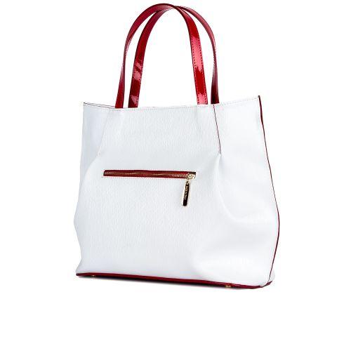 сумка женская/белая лак палия/лак красный 1238-1