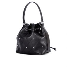 Молодёжная женская кожаная сумка - мешок ASSA, черного цвета