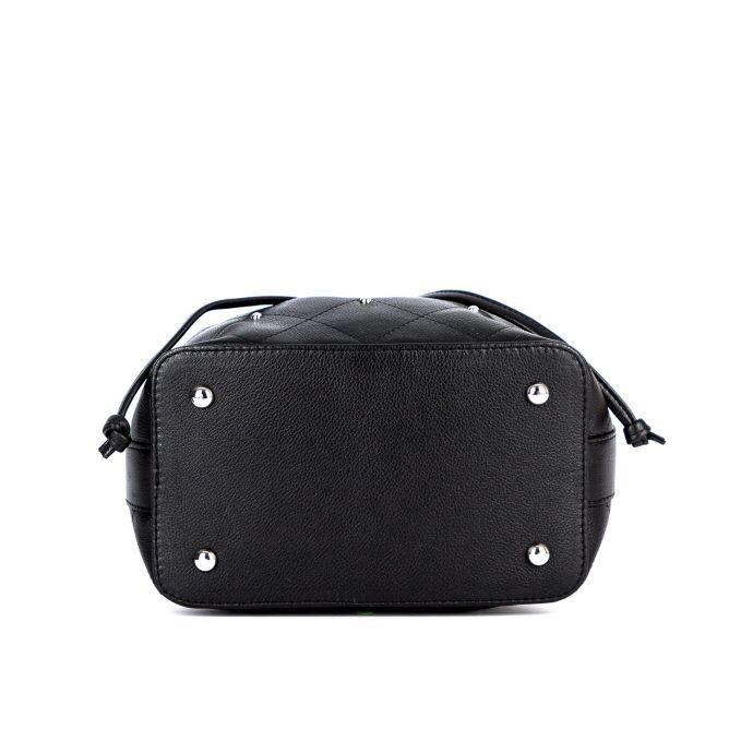 Молодёжная женская кожаная сумка - мешок ASSA, черного цвета 1010