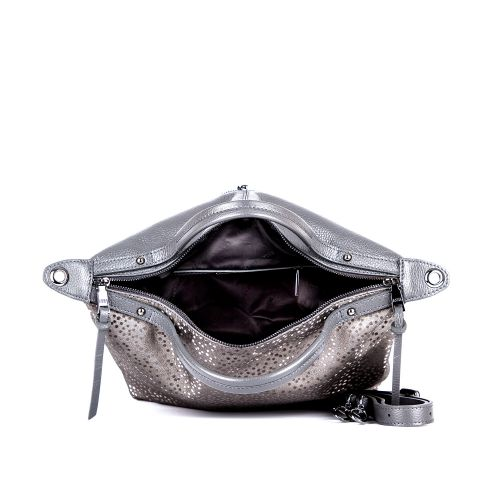 Повседневная женская кожаная сумка ASSA, серебристого цвета 1197м.-2