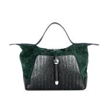 Повседневная женская кожаная сумка ASSA, зеленная со змеиным принтом