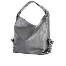 Молодёжная женская кожаная сумка ASSA, серебристого цвета
