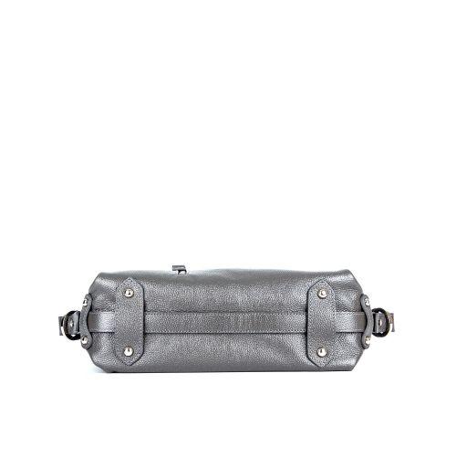 Молодёжная женская кожаная сумка ASSA, серебристого цвета 488