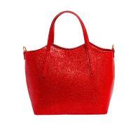 Молодёжная женская кожаная сумка ASSA, красного цвета