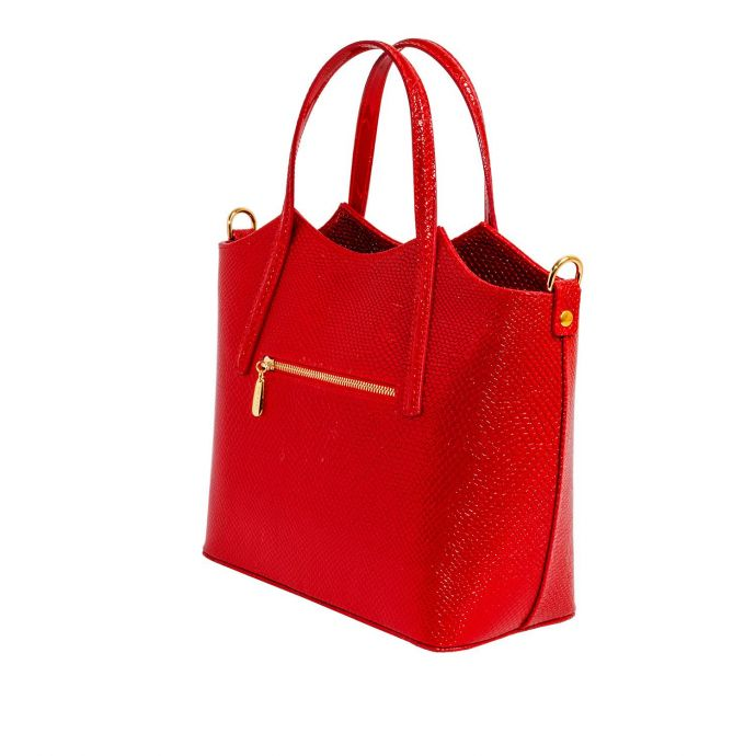 Молодёжная женская кожаная сумка ASSA, красного цвета 1100-3